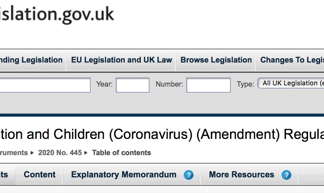 The Adoption and Children (Coronavirus) (Amendment) Regulations 2020, and a little bit of history.